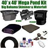 40 x 40 Mega Koi Pond Kit 8,000 GPH Pump Big Bahama Skimmer & Waterfall MA1