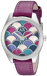 Armani Exchange Women\'s AX5523 Analog Display Analog Quartz Purple Watch
