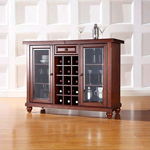 Crosley Cambridge Sliding Top Bar Cabinet, Vintage Mahogany Finish (Crosley Wine Cabinet compare prices)