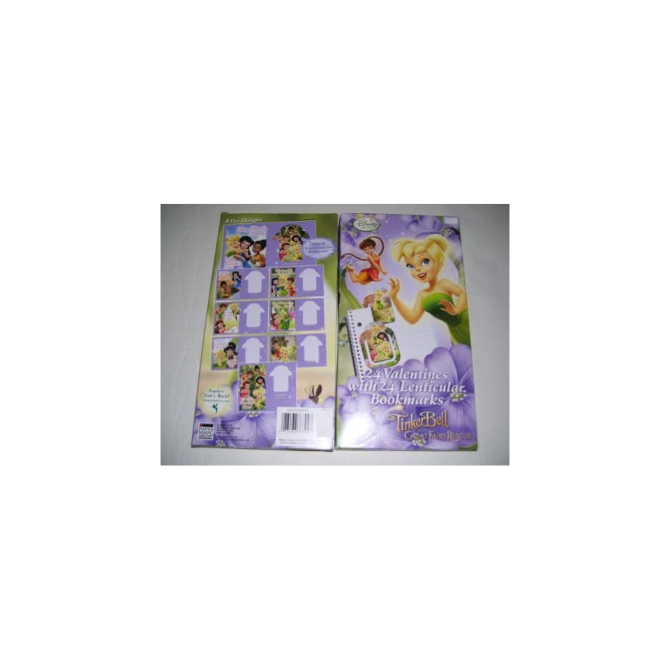 24 Disney Fairies Tinker Bell Valentines Day Cards With 24 Lenticular Bookmarks