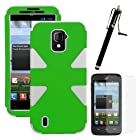 MINITURTLE, Dual Layer Tough Skin Dynamic Hybrid Hard Phone Case Cover, Clear Screen Protector Film, and Stylus Pen for Prepaid Straight Talk Android Smartphone ZTE Majesty Z796C /Verizon (Green / White)