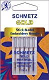 Gold Embroidery Machine Needles-Size 11/75 5/Pkg - 644093