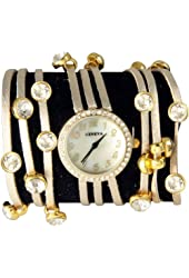 Spaghetti Strand Designer Inspired Geneva Wrap Watch-Metallic Gold!