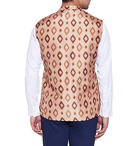 ShalinIndia Men Digitally Printed Faux Silk Nehru Collar Jacket 3 Front Pocket,M-DNJ48-1312,Cream,Size-48 Inch