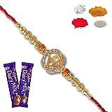 #4: Maalpani Rakhis -Religious diamond Om Divine Rakhi set With Chocolate
