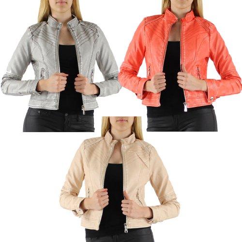 Coral M-6 - GG Women's Silvi Faux Leather Zip Crop Ladies Jacket Coat