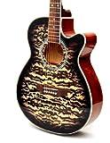 Design 4/4 Westerngitarre mit Motivdruck Leopard + Ersatzsaiten + Plektron