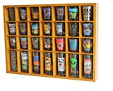 28 Shot Glass Shooter Display Case Holder Cabinet Rack, solid wood, NO Door, OAK Finish (SC11-OA)