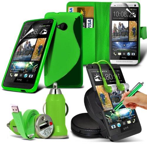 ONX3-8-IN-1-MEGA-PACK-HTC-One-M7-green-PREMIUM-PU-3-Karten-Slots-Leder-Geldbrse-Flip-Case-Hlle-LCD-Schirm-Schutz-Schutz-S-Linie-Wellen-Gel-Kasten-360-Auto-Halter-35-MM-Kopfhrer-Ohrhrer-Micro-USB-Flach