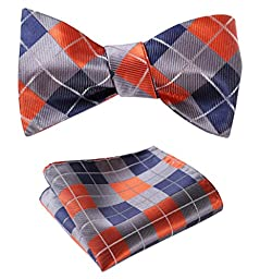 SetSense Men\'s Plaid Jacquard Woven Self Bow Tie Set One Size Orange / Blue / Gray