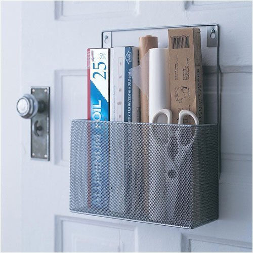 YBM HOME Silver Mesh Wall Mount Pantry Caddy, Wrap Rack Size 10 1/2 x 14 1/2 x 4 inches 1154 (1)