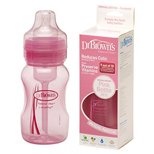 3-rosa-Dr-Browns-Natural-Flow-3-BABYFLASCHEN-ANTIKOLIK-JE-240ml