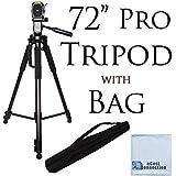 72 Inch Elite Series Professional, Full Size Camera Tripod for Canon, Nikon, Sony, Samsung, Olympus, Panasonic & Pentax + eCost Microfiber Cloth