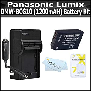 Battery Kit For Panasonic Lumix DMC-ZS7 DMC-ZS10, DMC-ZS8, DMC-ZS9, DMC-3D1, DMC-ZS20, DMC-ZS15, DMC-ZS25, DMC-ZS25K Digital Camera Includes Extended Replacement Panasonic DMW-BCG10 (1200 mAH) Lithium-Ion Battery + AC/DC 110/220 Travel Charger + More
