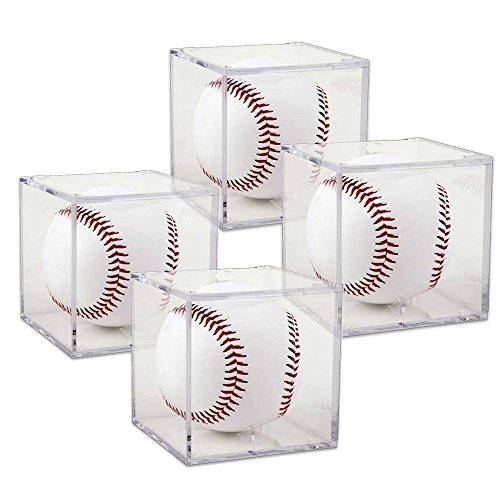 (Set of 4) Grandstand UV Protection Baseball Display with Built-in Cradle (Plastic Display Box Square compare prices)