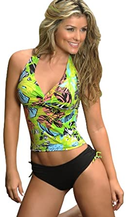 Corpo Women's High Quality Black Green Tankini Fashion Swimsuit 09107