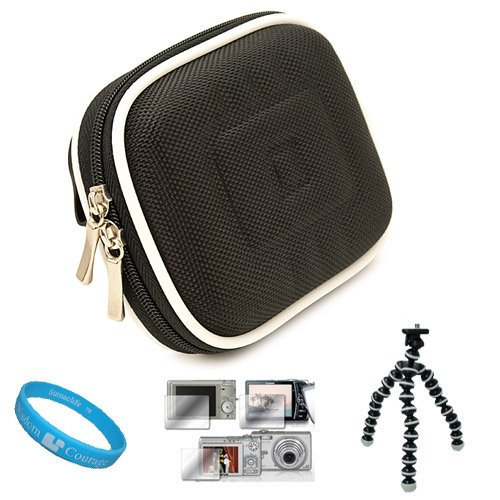 Nylon Black Durable Compact Digital Camera Carrying Case with Dual Zippered Opening and Removable Carbineer for Fujifilm FinePix XP30 Digital Camera + Universal Clear Screen Protector + Grey 6-inch Mini Tripod Stand with Flexible Grip Legs + SumacLife TM Wisdom Courage Wristband