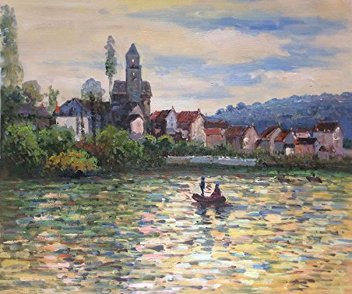 Фото The Seine at Vetheuil,20X24 inch,100% Hand Painted Oil Painting On Canvas Unstretched Modern Artwork By Top Wall Art