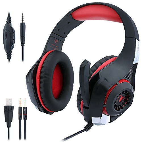 Gaming Headphones PS4 PC, ohCome 3.5MM Gaming Headset with Mic USB Led Light for PlayStation 4 / New Xbox One / Laptop / Tablets / Mac iPhone, Headset Splitter (Black-red) (Cool Headphones Cheap compare prices)