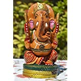 "6"" Wooden Ganesha Gift - Hand Carved & Painted Ganesha Sculpture Decor - Bansal Handicrafts"