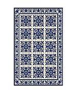 Huella deco Alfombra Bañada en Vinilo (Azul/Blanco)