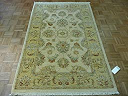 4 x 6 HAND KNOTTED IVORY FINE OUSHAK ORIENTAL RUG VEGETABLE DYES G190