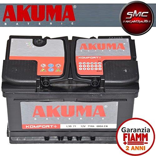 BATTERIA-AUTO-AKUMA-by-FIAMM-cod-L3B71-KOMFORT-PLUS-71Ah-680A-Polo-Positivo-a-Destra