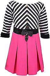 Sheetal Fashion Girls' Hosiery Dress (SF-32_5-6 Years, Black, Pink & White)