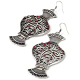 Vase Drop Pierced Fashion Earrings Burnt Silver & Red