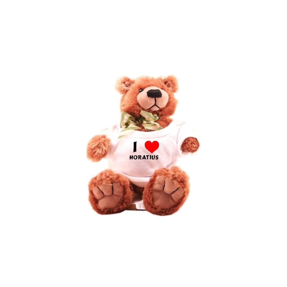 Plush Teddy Bear (Molasses) with I Love Horatius (first name/surname/nickname)