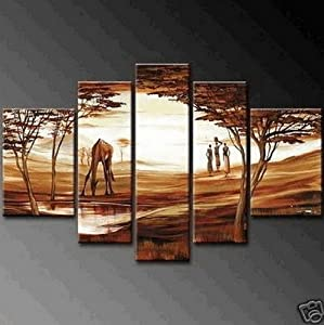 100% Hand Painted Art 5 Piece Wall Art Abstract Oil Painting African