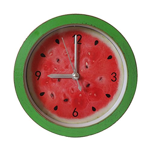 G-magi Series Self-stand Vintage Simple Clean Alarm Desktop Shelf Clock, Small and Fashionable Special Design for Shelf and Desktop Decoration (Watermelon)