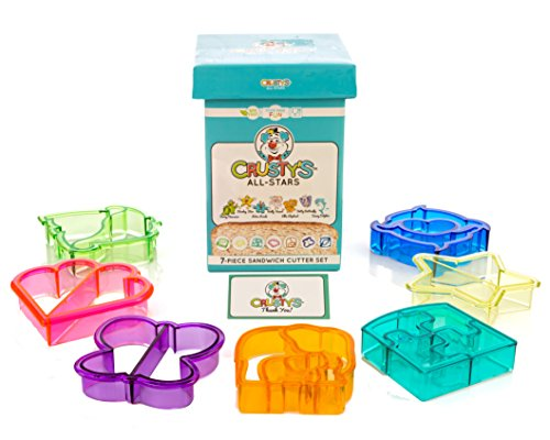 Crusty's All-Stars Sandwich Cutters - Set of 7 High-Quality Crust & Cookie Cutters - Butterfly, Dinosaur, Dolphin, Elephant, Heart, Puzzle and Star in Fun and Sturdy Gift & Storage Box (Sandwich Cutter And Decruster compare prices)