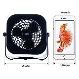 Desk Personal Fan USB Table Portable Fan(2 Speed, 4 Inch,Quietness)(Black)
