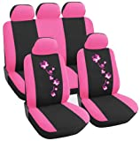 WOLTU AS7252 Auto Sitzbezug , Komplettset , PET , Schonsitz Bezug Set , universal passend , Sitzschutz , Stickerei Butterfly , Super Design , Pink/Schwarz , NEU & OVP