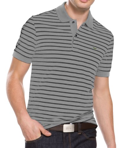 Lacoste Men's Double Stripe Pique Polo Shirt Grey/Black PH8687