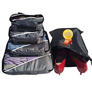 Travel Packing Cubes- Packing Cubes | 4pc Eva-Ash Set With Free ♥ Shoe bags | laundry hamper | laundry bag ♥ | Multi-Purpose Use, Packing Cubes Large,| Packing Cubes | Packing Cubes for Travel |Packing Cubes Small, Cosmetic Bag | Cosmetic Bag Set | Toiletry Bag | Men Toiletry Bag | Toiletry Bag For Men | Toiletry Bag For Women | Toiletry Bag For Kids | Makeup Bag | Travel Bag | Luggage | Sports and Outdoor | Uniquely Designed | Quality and Affordable with 100% Replacement and Refund Guarantee!