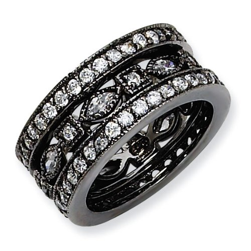 Black-plated Sterling Silver CZ Eternity Three Ring Set - Size 8 - JewelryWeb