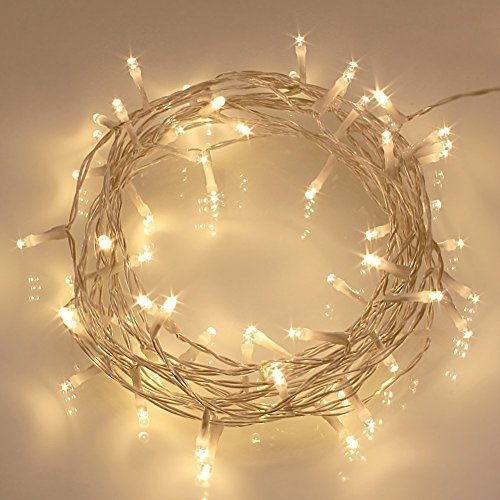 [2 Pack] 40 LED Outdoor [Timer] Battery Fairy Lights on 5M Clear String Cable - (8 Modes, 120 Hours of Lighting, IP65 Waterproof, Warm White)