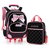 JUSHIS かわいい キッズ キャリーケース&リュックのセット 2way バッグ トロリー 旅行 鞄 女の子 kids 子供用リュック(ブラック)