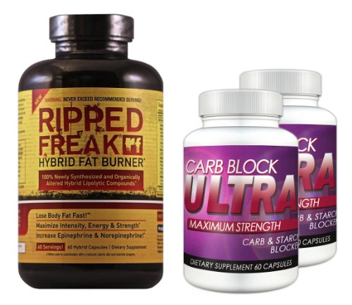 Ripped Freak Hybrid Fat Burner (60 Servings) & Carb Block Ultra (2 Bottles) - The Ultimate Fat Burning / Weight Loss Package. Double Your Results!