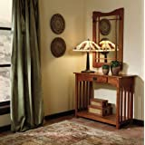 Oak Finish Wood Console Table and Mirror