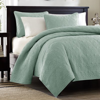 Sale!! Quebec 3 Piece Coverlet Set Size: Full / Queen, Color: Seafoam