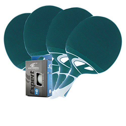 Cornilleau Tacteo 50 Weatherproof 4 Player Table Tennis Racket & Ball Set - Turquoise/White