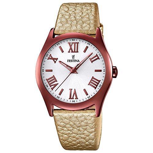 Damas-reloj analógico Festina Dreamtime cuero textiles-pulsera cuarzo-Reloj Dial colour marrón bronce UF16649/6