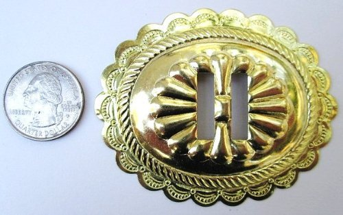 """Conchos 2 3/4"""" Big Oval Classic Western Bright Gold 6 pieces #50065"""