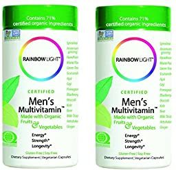 Rainbow Light, Men\'s Organic Multivitamin, 120 count (2 Pack)(packaging may vary)