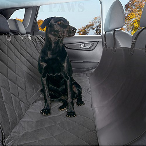 Plush-Paws-Pet-Seat-Cover-Waterproof-with-2-Bonus-Pet-Car-Seat-Belts-and-2-Harnesses-Hammock-Side-Flaps-Quilted-Non-Slip-Silicone-Backing-Machine-Washable-for-Cars-Trucks-SUVs-Vehicles