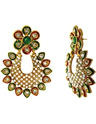 Traditional Ethnic Red Green Flower Gold Plated Dangler Earrings With Crystals For Women By Donna ER30112G