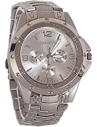 LegendDeal Rosra Men's Watch With Silver Chain And Silver Dial Stylish Look With Lovely Colors - For Men And Boys